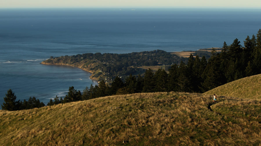 Hiker taking one of the best hikes in California in Marin Headlands, Sausalito