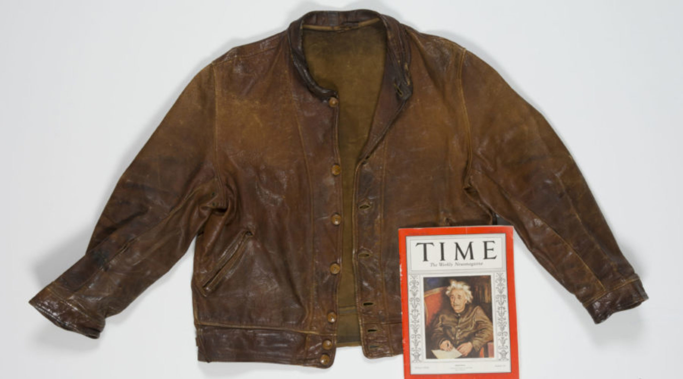 Albert Einstein's leather jacket with an issue of Time Magazine