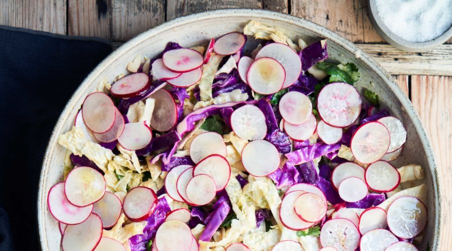 Cabbage Salad with Citrus Dressing and Radishes
