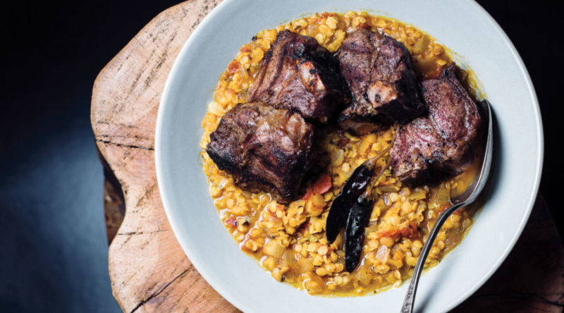 Lamb Chops with Red Lentils