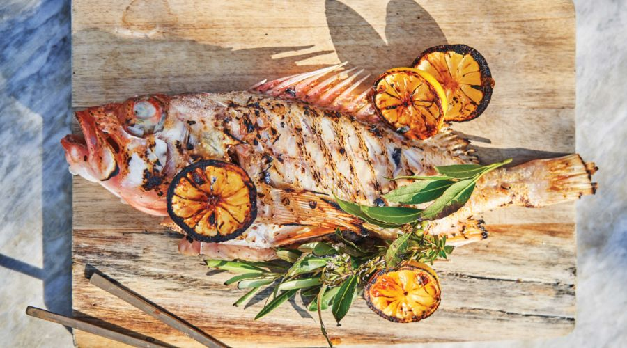 Whole Grilled Channel Island Rock Cod