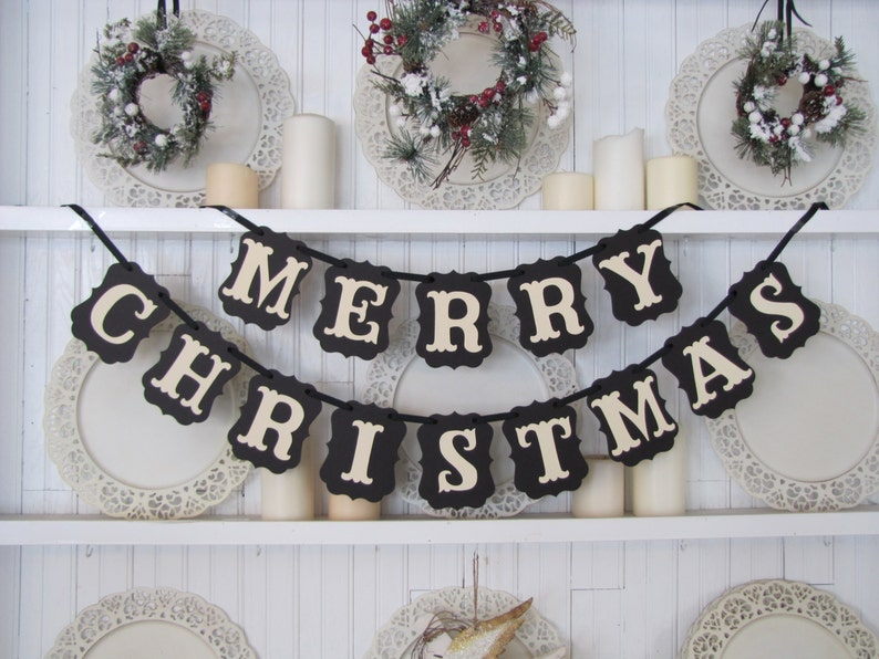 black and white merry christmas banner