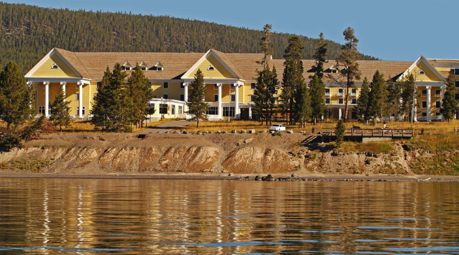 View of Lake Yellowstone Hotel from the water