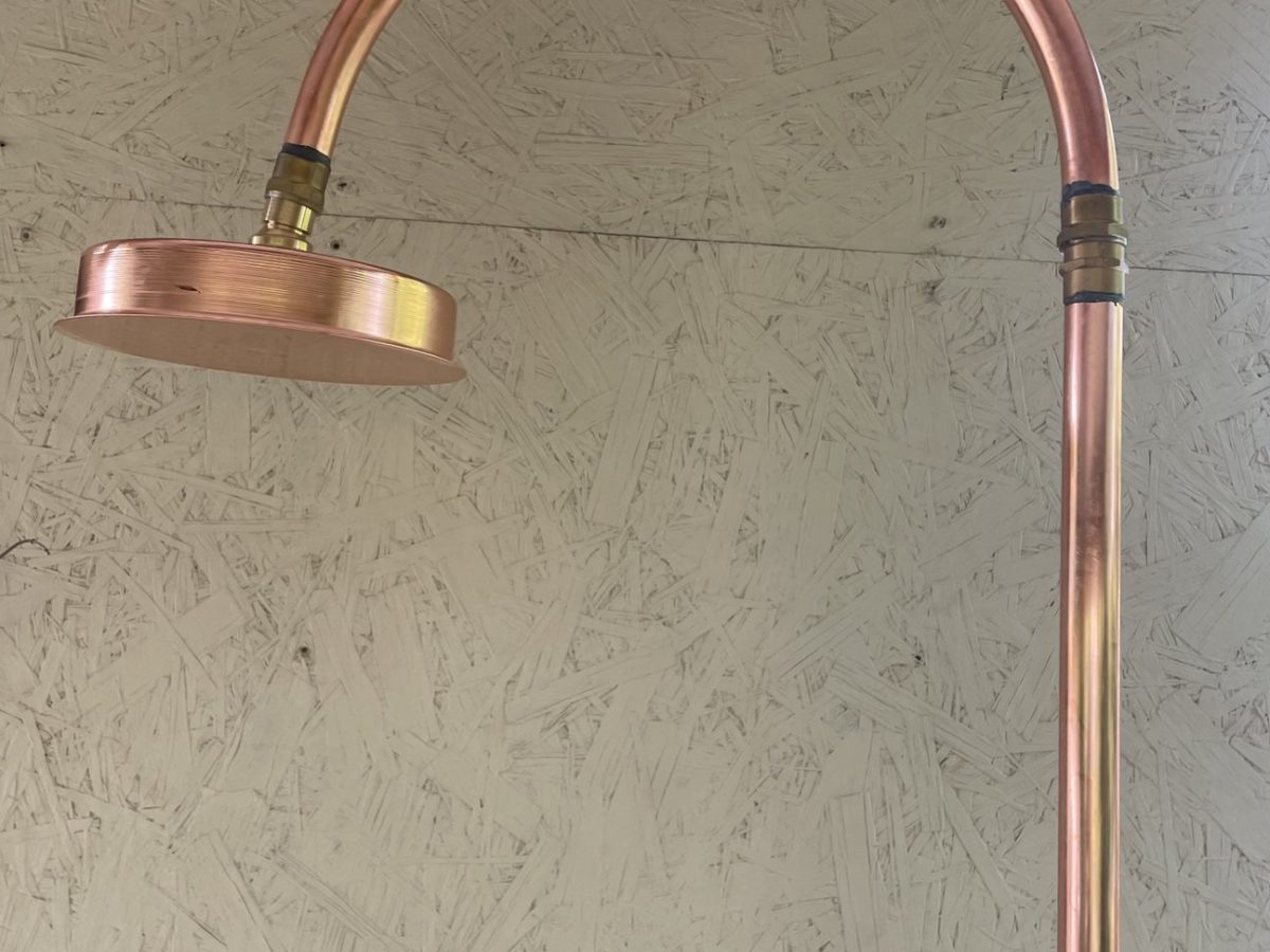 Plant material outdoor shower copper