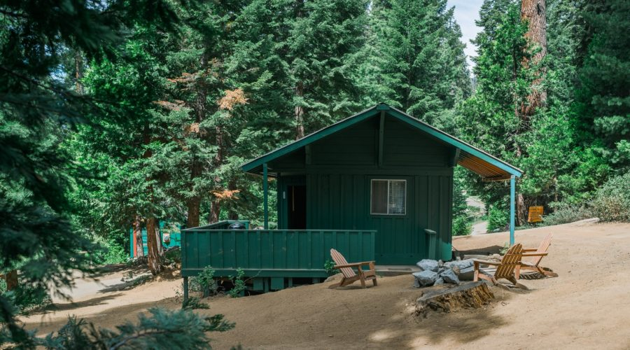 A green cozy cabin at Silver City Mountain Resort in Sequoia National Park