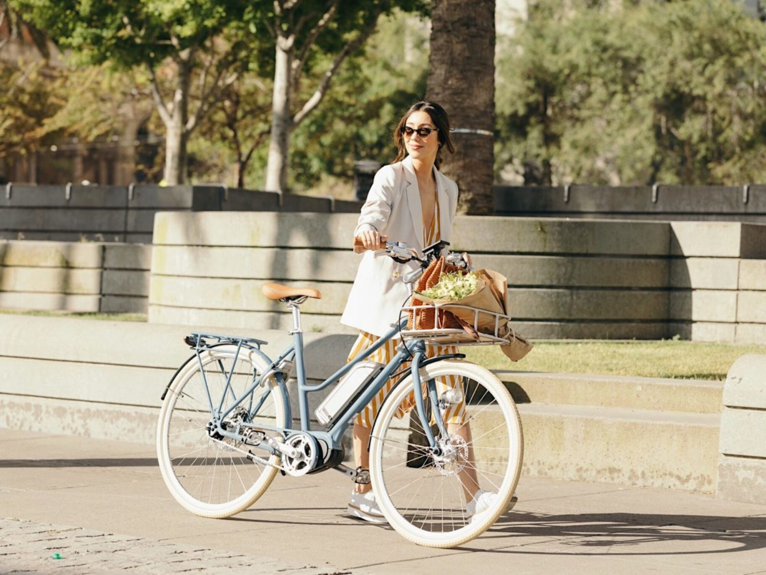 Woman on Bluejay Electric Bike