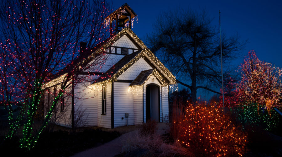 Old Schoolhouse with Christmas Lights taken at the Santa's Village at Chatfield Farms in Denver